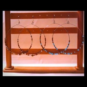 Earrings, 2 pairs, silvertone, Arizona brand